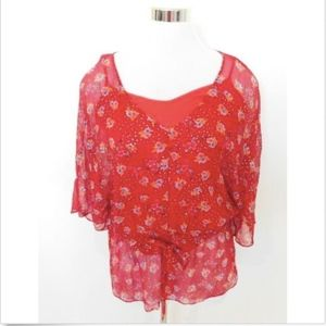 ELLA MOSS Red Floral Silk Blouse Top Boho Layered